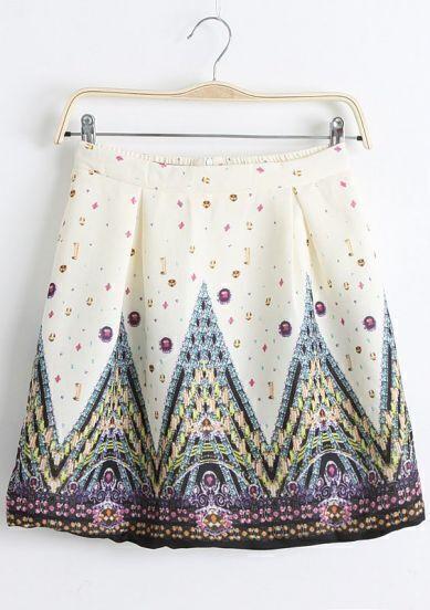 Beige  PalacePrint Pleated Flare Skirt