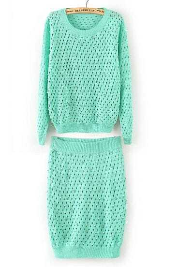 Green Long Sleeve Hollow Bead Sweater With Skirt