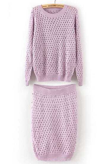Purple Long Sleeve Hollow Bead Sweater With Skirt