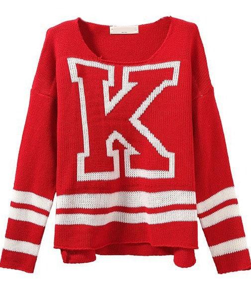 Red Long Sleeve K Pattern Knit Sweater -SheIn(Sheinside)