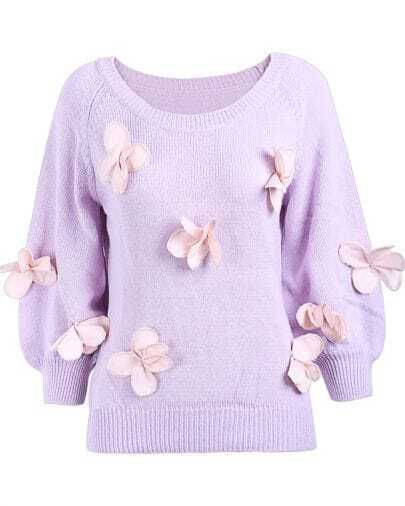 Light Purple Long Sleeve Applique Loose Sweater