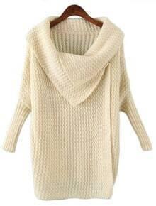 Beige Lapel Long Sleeve Batwing Loose Sweater