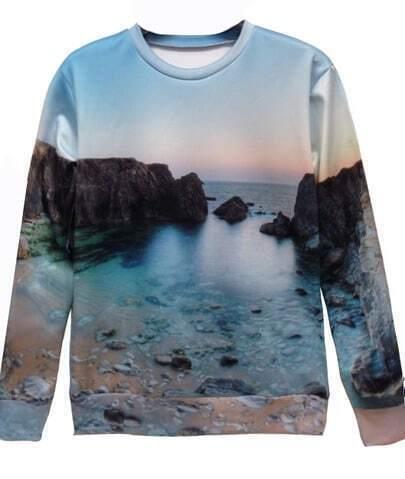 Blue Hill Beach Print Unisex Sweatshirt