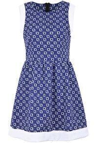 Blue Sleeveless Plaid Back Zipper Dress
