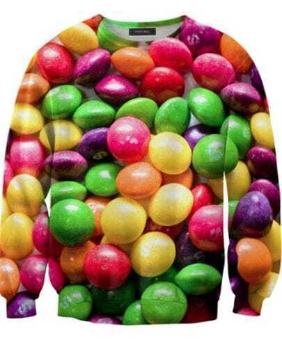 Multicolor Candy Print Unisex Sweatshirt