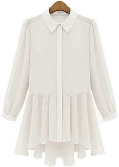 White Lapel Long Sleeve Contrast Sheer Chiffon Dress