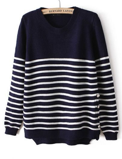Navy Long Sleeve Striped Buttons Sweater