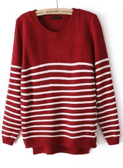 Red Long Sleeve Striped Buttons Sweater