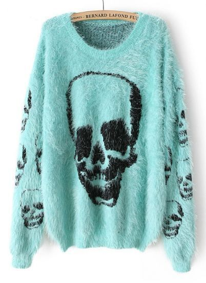 Turquoise Long Sleeve Skull Pattern Shaggy Sweater