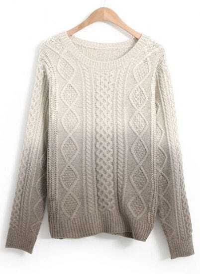 Grey Gradients Long Sleeve Cable Knit Sweater