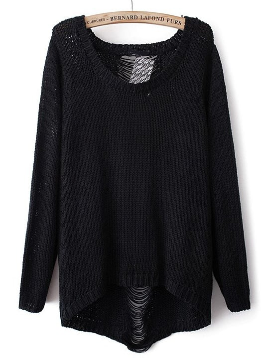 Black Long Sleeve Ripped Knit Loose Sweater -SheIn(Sheinside)