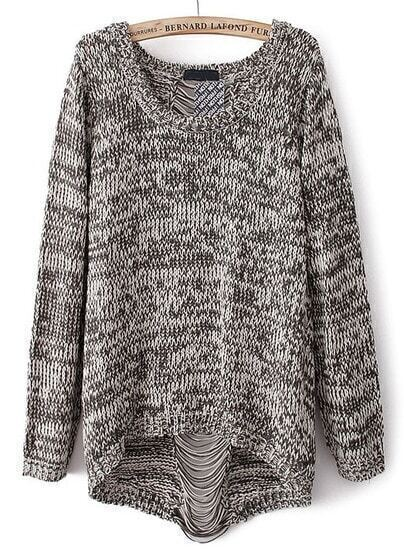 Grey Long Sleeve Ripped Knit Loose Sweater