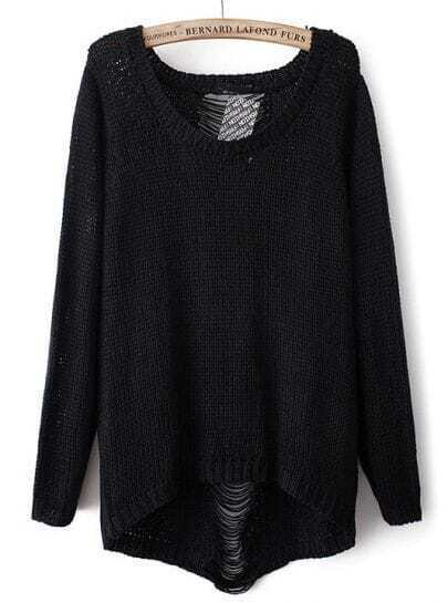 Black Long Sleeve Ripped Knit Loose Sweater
