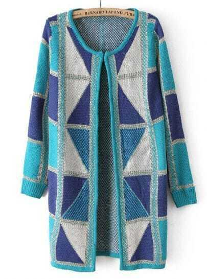 Blue Long Sleeve Geometric Pattern Cardigan
