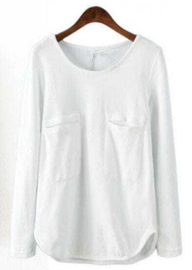 White Long Sleeve Double Pockets Blouse
