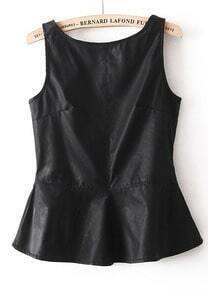 Black Sleeveless Backless Ruffle PU Blouse