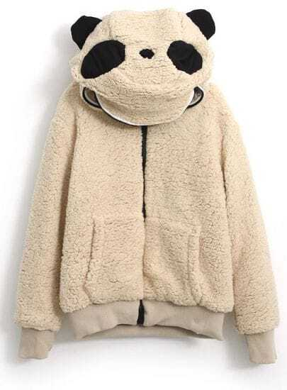 Light Coffee Hooded Long Sleeve Panda Style Outerwear