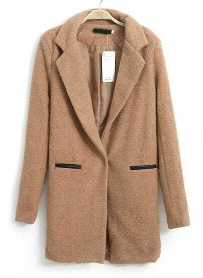 Camel Lapel Long Sleeve Pockets Woolen Coat