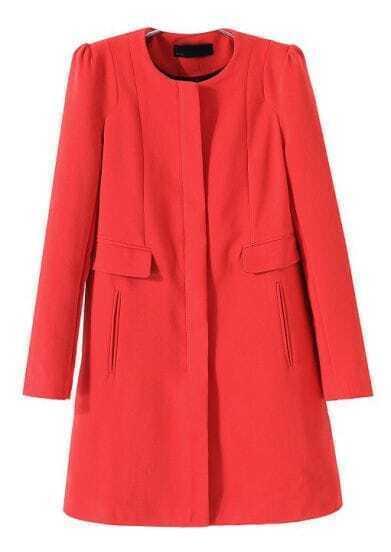 Red Long Sleeve Zipper Pockets Woolen Coat