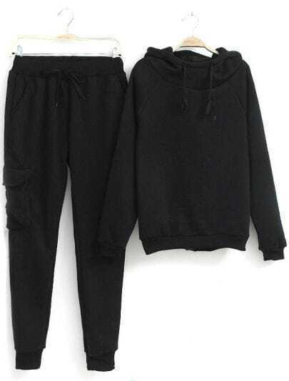 Black Hooded Long Sleeve Drawstring Top With Pant