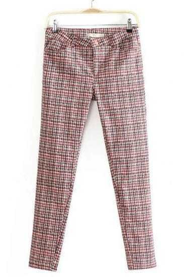 Red Slim Pockets Houndstooth Pant