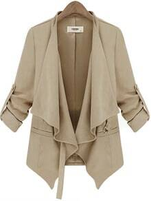 Beige Long Sleeve Belt Casual Trench Coat