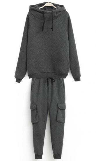 Grey Hooded Long Sleeve Drawstring Top With Pant
