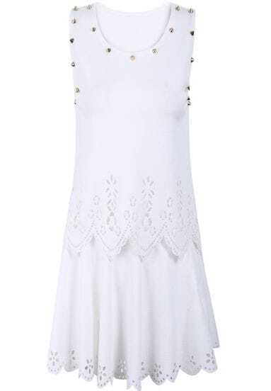 White Sleeveless Hollow Rivet Top With Skirt