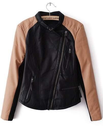 Black Contrast Long Sleeve Zipper PU Jacket