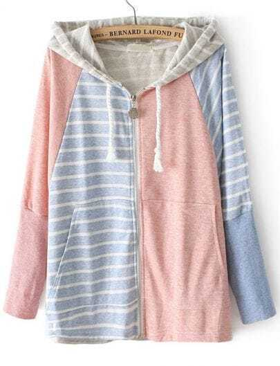 Pink Blue Hooded Batwing Sleeve Striped Sweatshirt