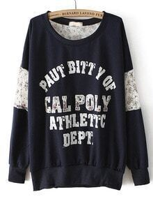 Navy Long Sleeve Contrast Lace Letters Print Sweatshirt