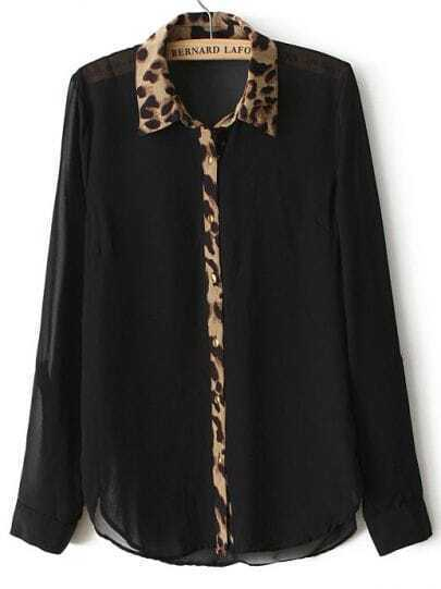 Black Long Sleeve Contrast Leopard Lapel Blouse