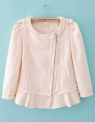 White Long Sleeve Ruffle Fringe Tweed Outerwear