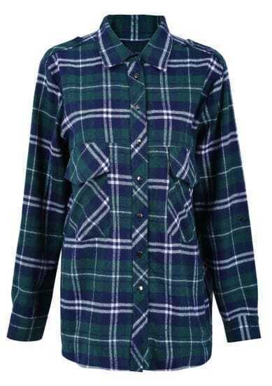 Green and Blue Plaid Print Long Sleeve Blouse