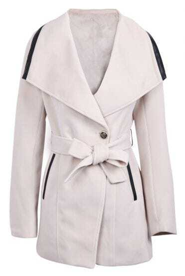 Beige Lapel Long Sleeve Contrast Leather Belt Coat