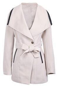 Beige Lapel Long Sleeve Contrast Leather Belt Coat