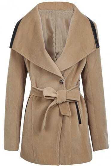 Camel Lapel Long Sleeve Contrast Leather Belt Coat