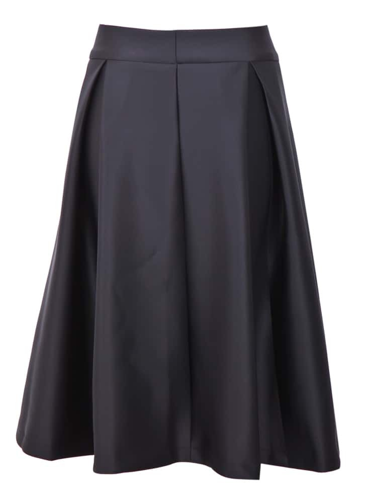 Black Zipper Ruffle A Line Skirt -SheIn(Sheinside)