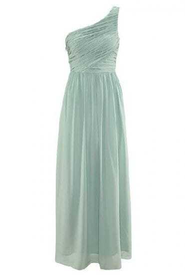 Light Green One-Shoulder Pleated Long Evening Dress