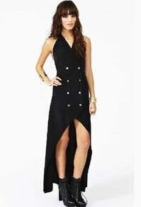 Black Sleeveless Double Breasted High Low Dress