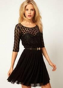 Black Half Sleeve Lace Belt Mesh Yoke Pleated Dress