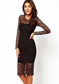 Black Long Sleeve Sheer Mesh Yoke Bodycon Dress