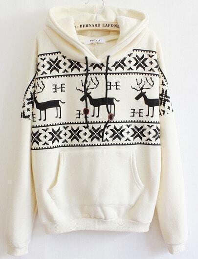 Beige Long Sleeve Deers Print Pocket Front Hoodie