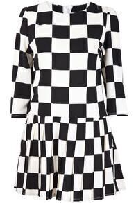 Black White Plaid Long Sleeve Chiffon Dress