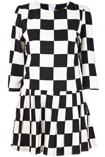 Black White Plaid Long Sleeve Chiffon Dress