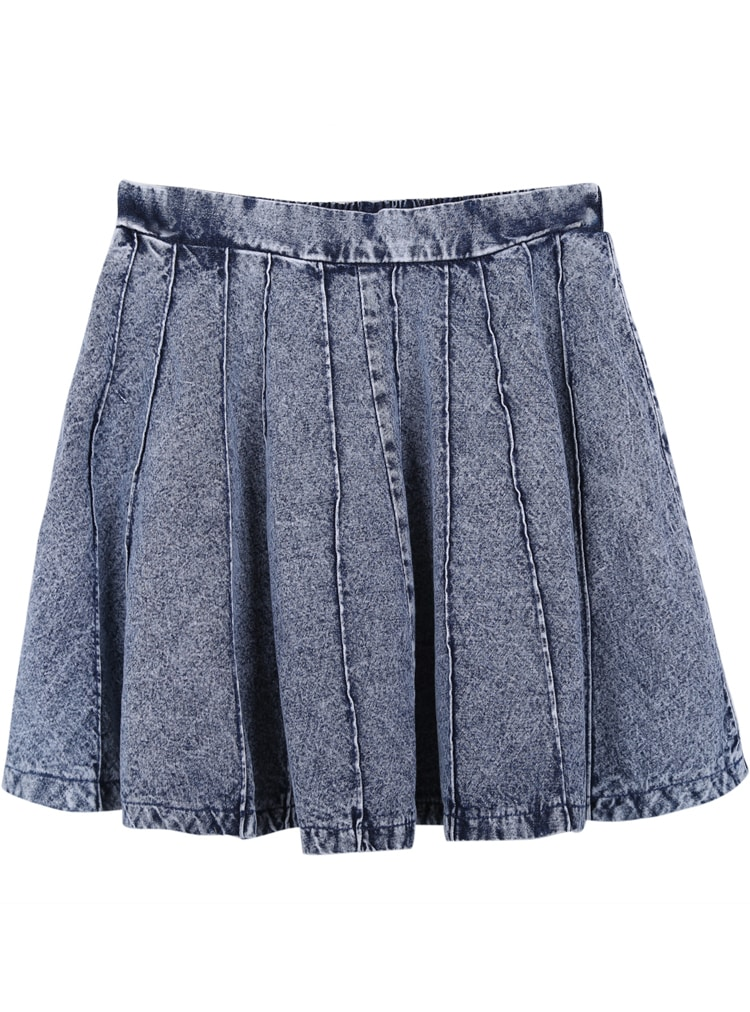 grey pleated denim skirt shein sheinside