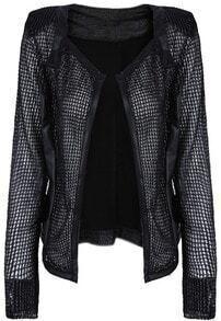 Black Long Sleeve Mesh Yoke Snakeskin Jacket