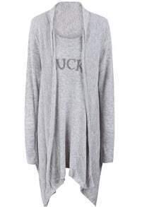 Grey Long Sleeve Bead FUCK Knit Cardigan