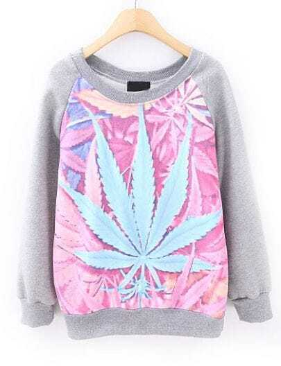 Grey Raglan Sleeve Leaves Print Sweatshirt