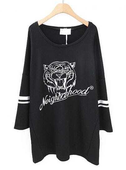 Black Trumpet Sleeve Tiger Letters Print Oversize T-shirt